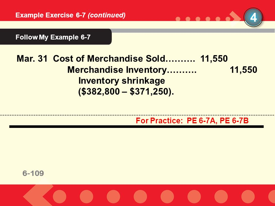 4 Follow My Example 6-7 Mar. 31 Cost of Merchandise Sold………. 11,550