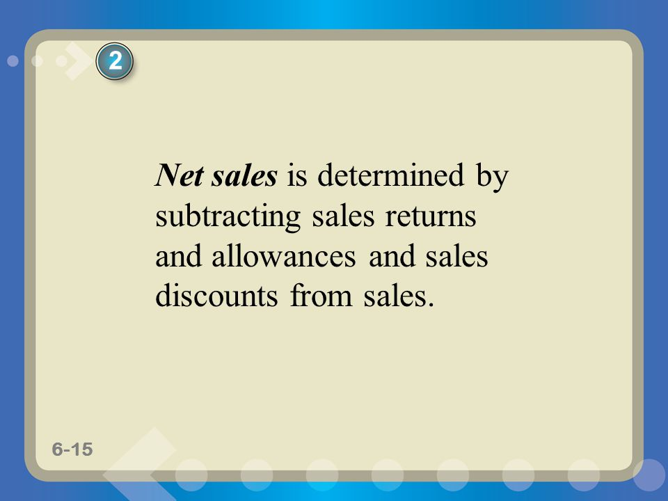 2 Net sales is determined by subtracting sales returns and allowances and sales discounts from sales.