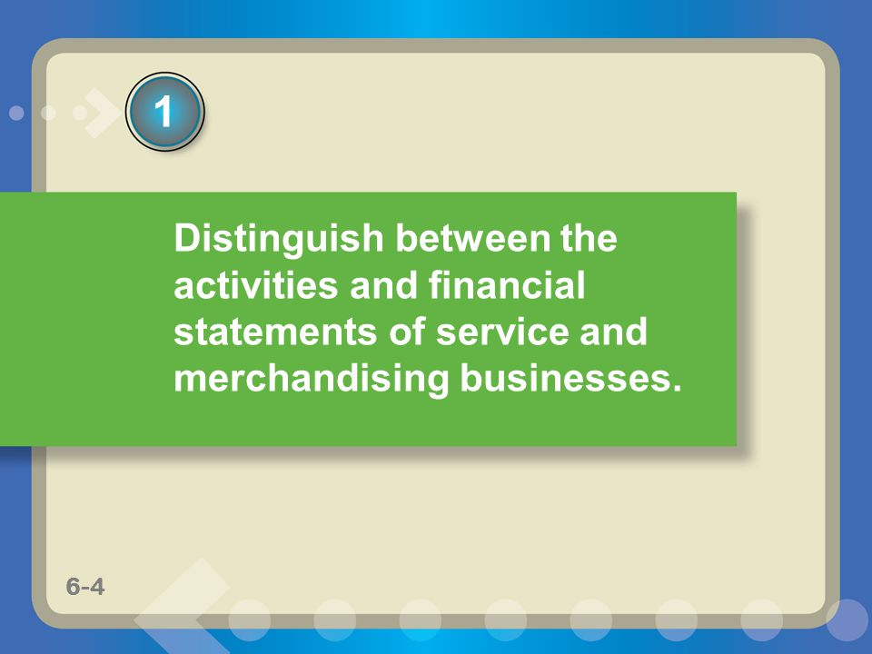 1 Distinguish between the activities and financial statements of service and merchandising businesses.
