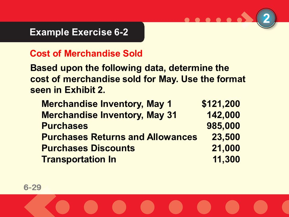 2 Example Exercise 6-2 Cost of Merchandise Sold