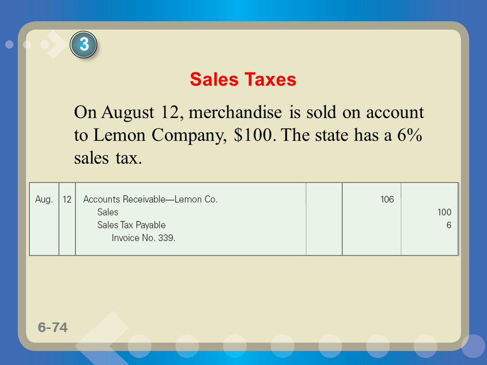 3 Sales Taxes. On August 12, merchandise is sold on account to Lemon Company, $100.