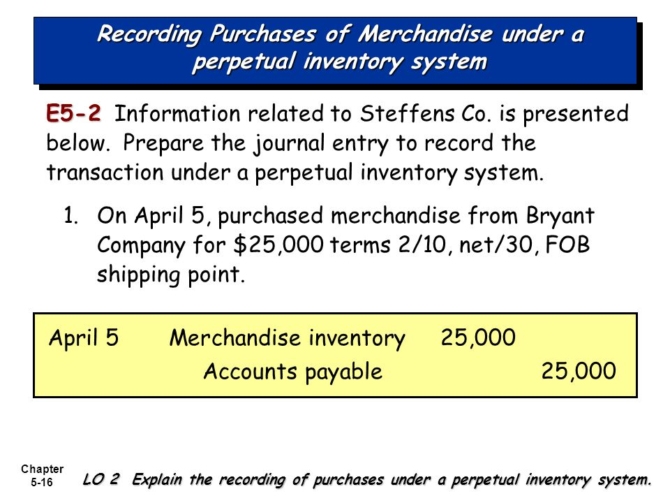 Recording Purchases of Merchandise under a perpetual inventory system