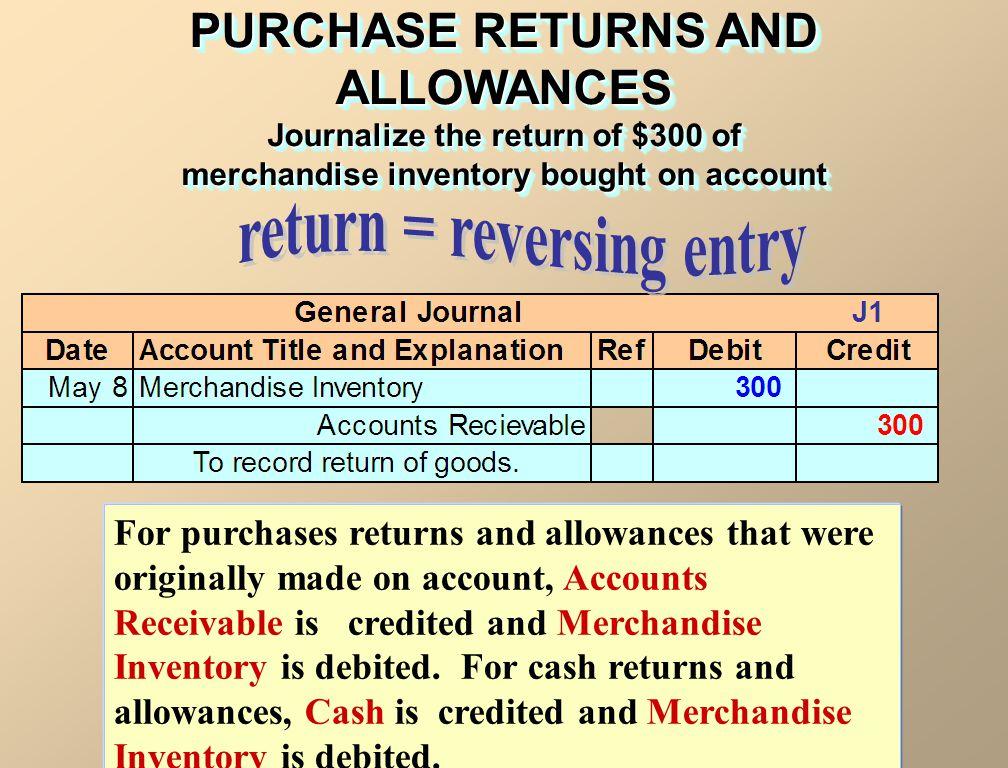 PURCHASE RETURNS AND ALLOWANCES return = reversing entry