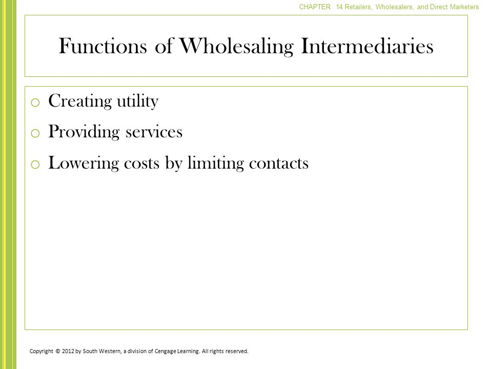Functions of Wholesaling Intermediaries