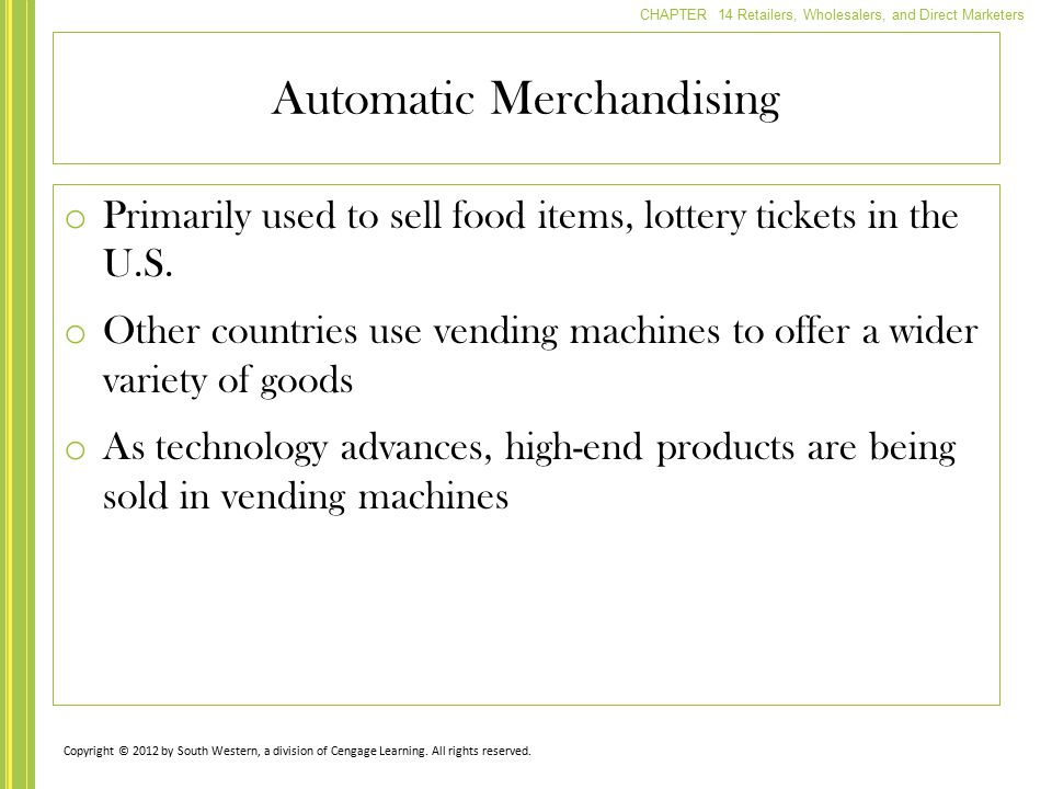 Automatic Merchandising