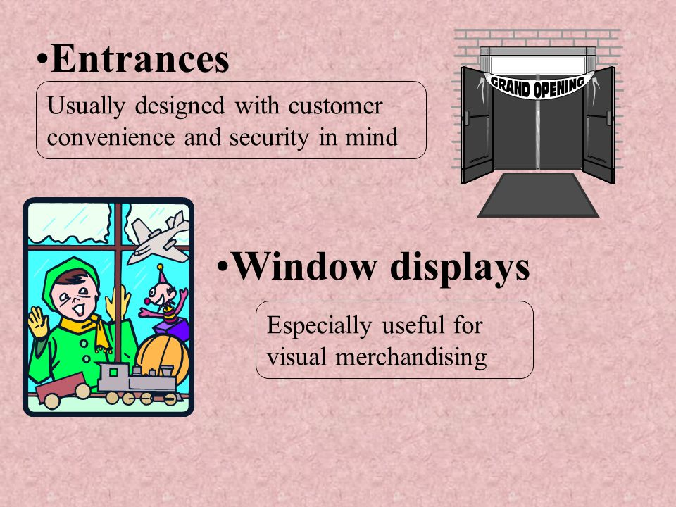 Entrances Window displays