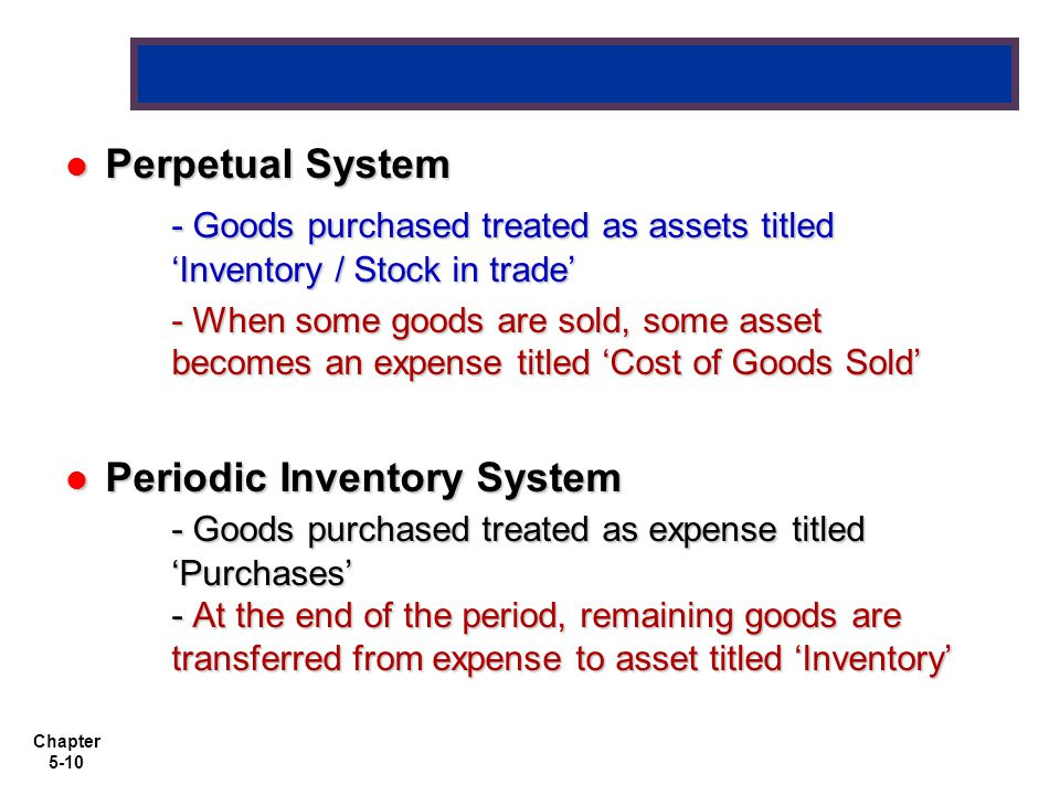 Perpetual System - Goods purchased treated as assets titled 'Inventory / Stock in trade'