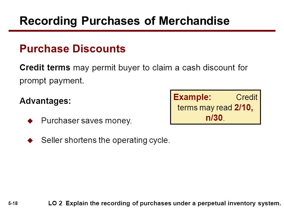 Example: Credit terms may read 2/10, n/30.