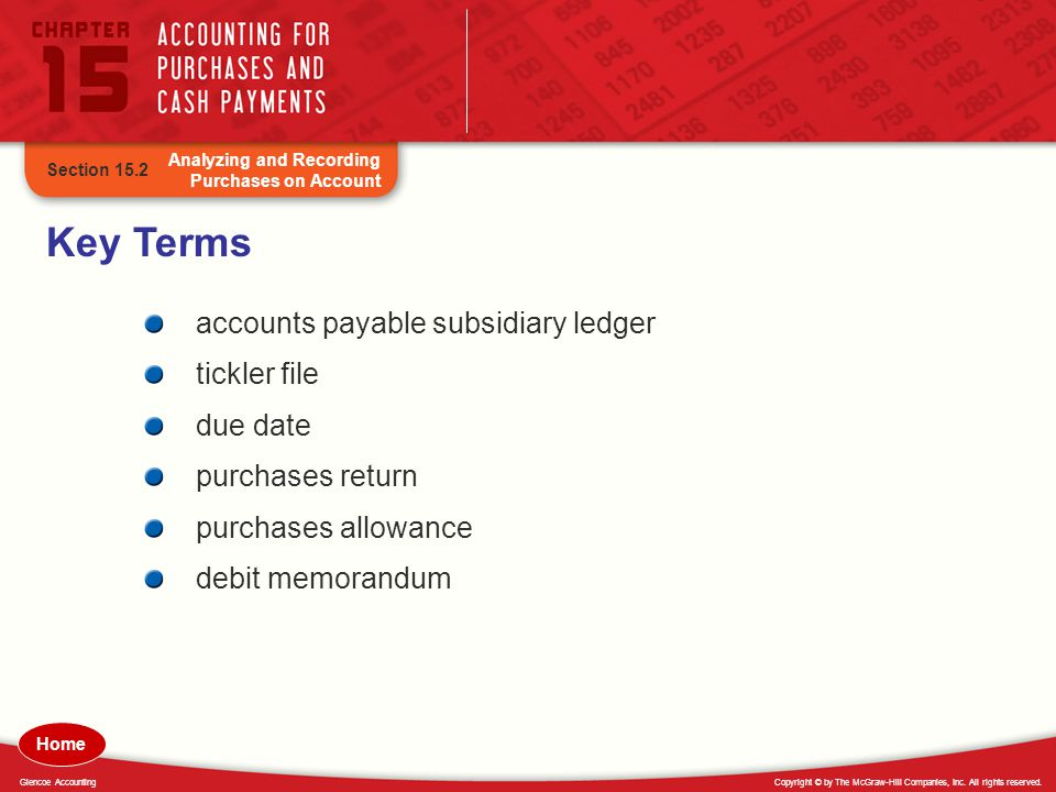 Key Terms accounts payable subsidiary ledger tickler file due date
