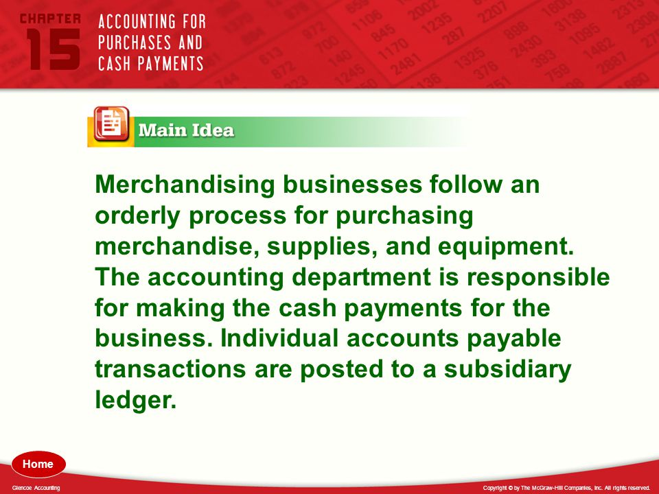 Merchandising businesses follow an orderly process for purchasing merchandise, supplies, and equipment. The accounting department is responsible for making the cash payments for the business. Individual accounts payable transactions are posted to a subsidiary ledger.
