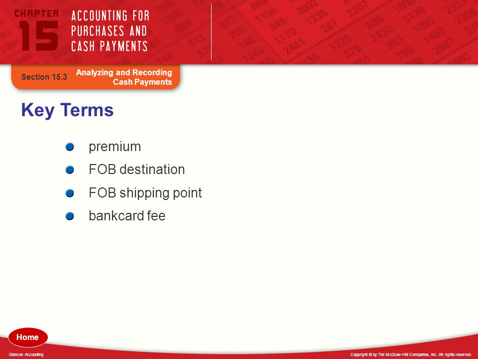 Key Terms premium FOB destination FOB shipping point bankcard fee