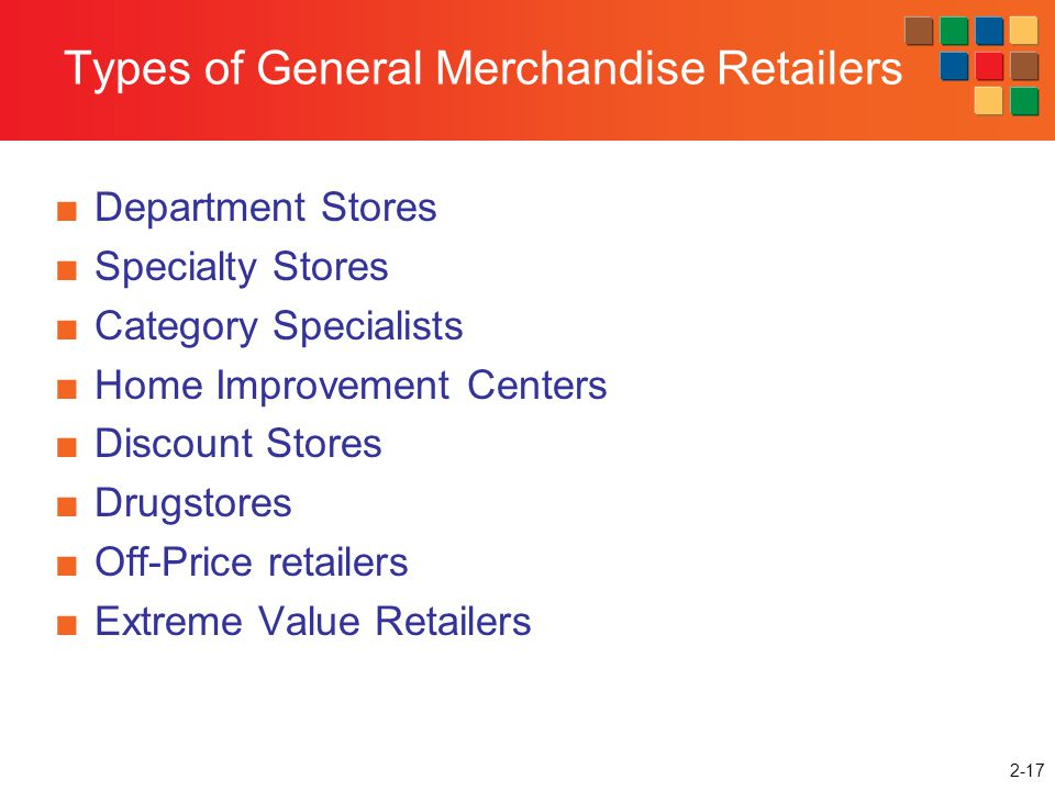 Types of General Merchandise Retailers