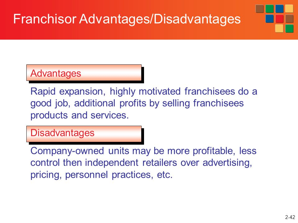 Franchisor Advantages/Disadvantages