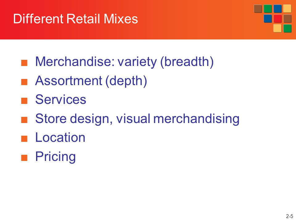 Different Retail Mixes