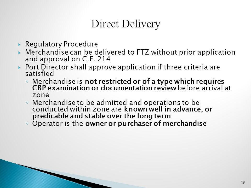 Direct Delivery Regulatory Procedure