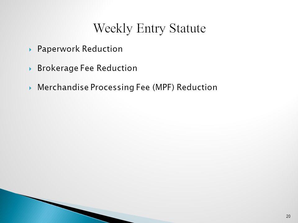 Weekly Entry Statute Paperwork Reduction Brokerage Fee Reduction