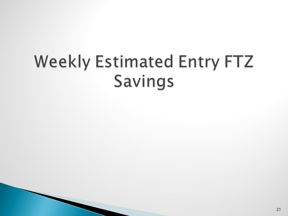 Weekly Estimated Entry FTZ Savings