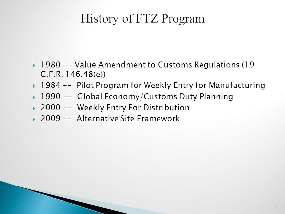 History of FTZ Program 1980 -- Value Amendment to Customs Regulations (19 C.F.R. 146.48(e))
