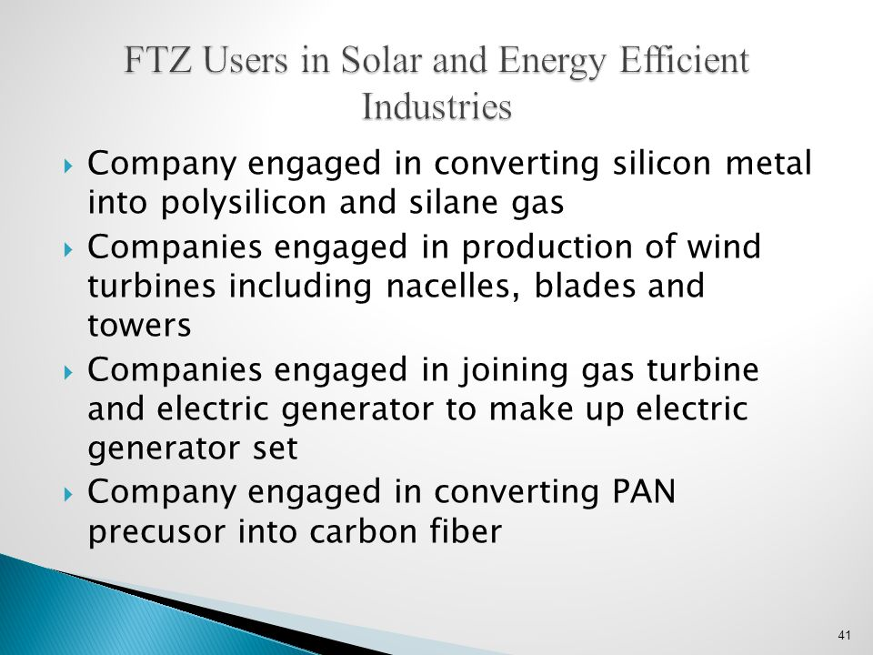 FTZ Users in Solar and Energy Efficient Industries