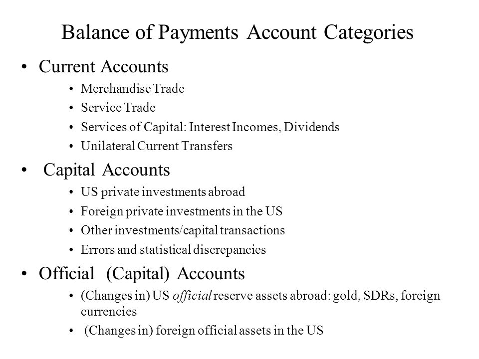 Balance of Payments Account Categories