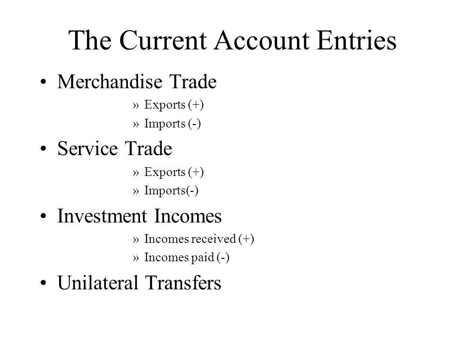 The Current Account Entries