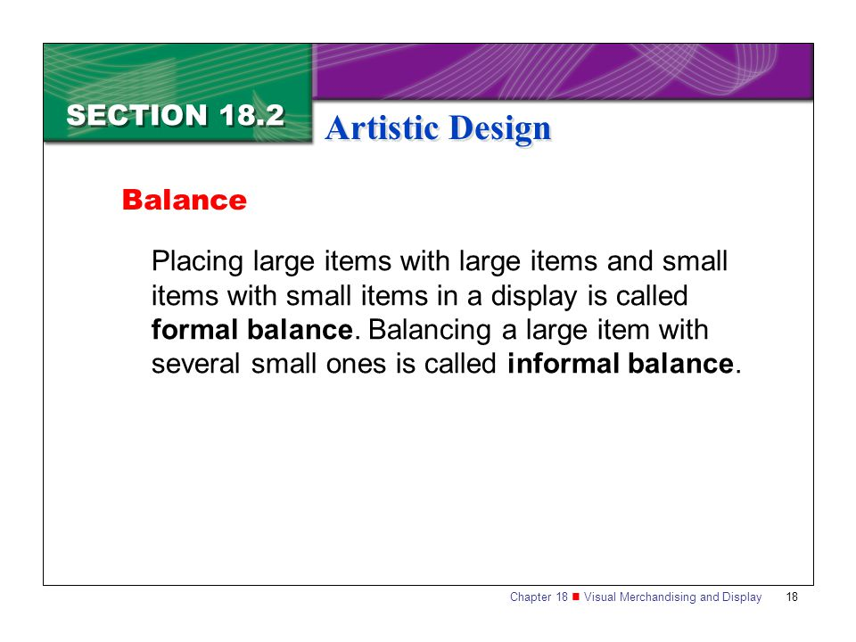 Artistic Design SECTION 18.2 Balance