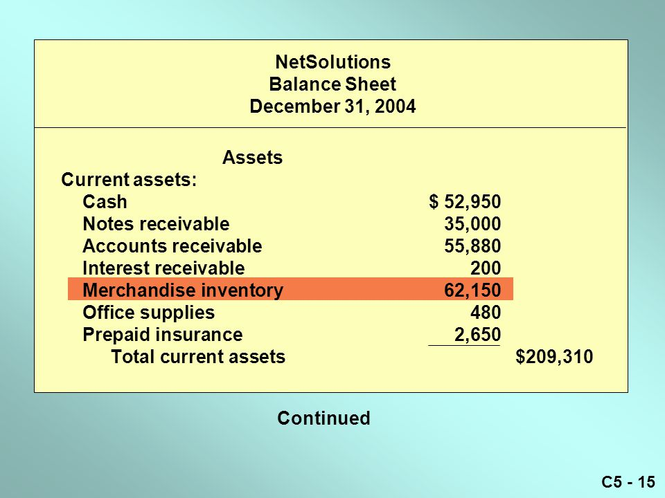 NetSolutions Balance Sheet December 31, 2004