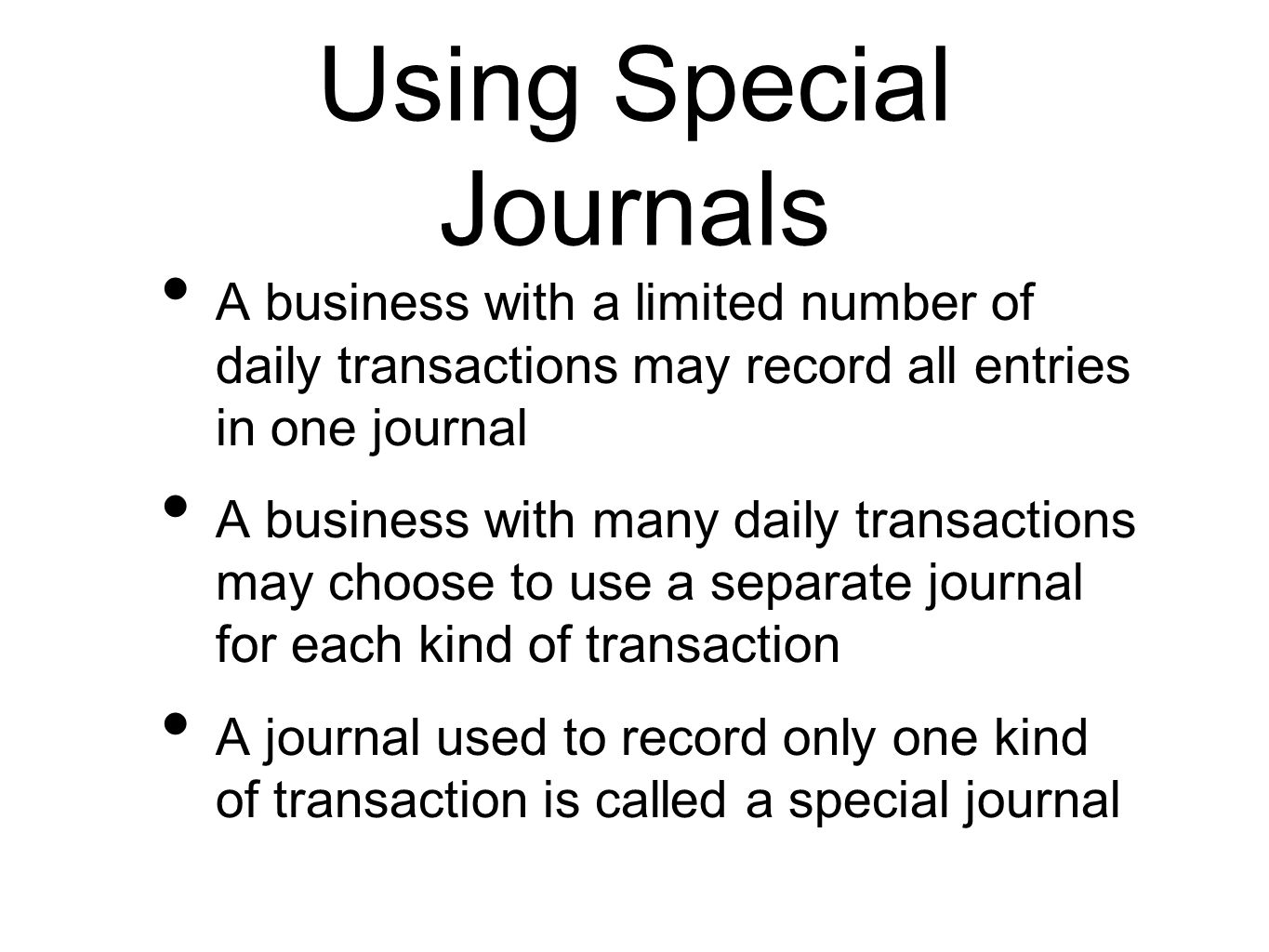 Using Special Journals