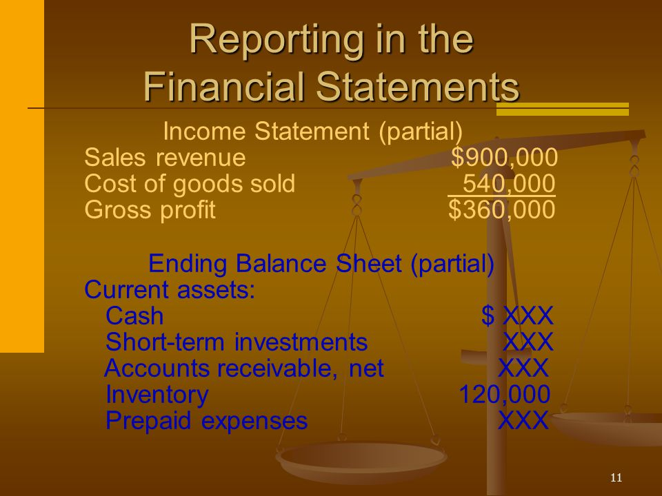 Reporting in the Financial Statements