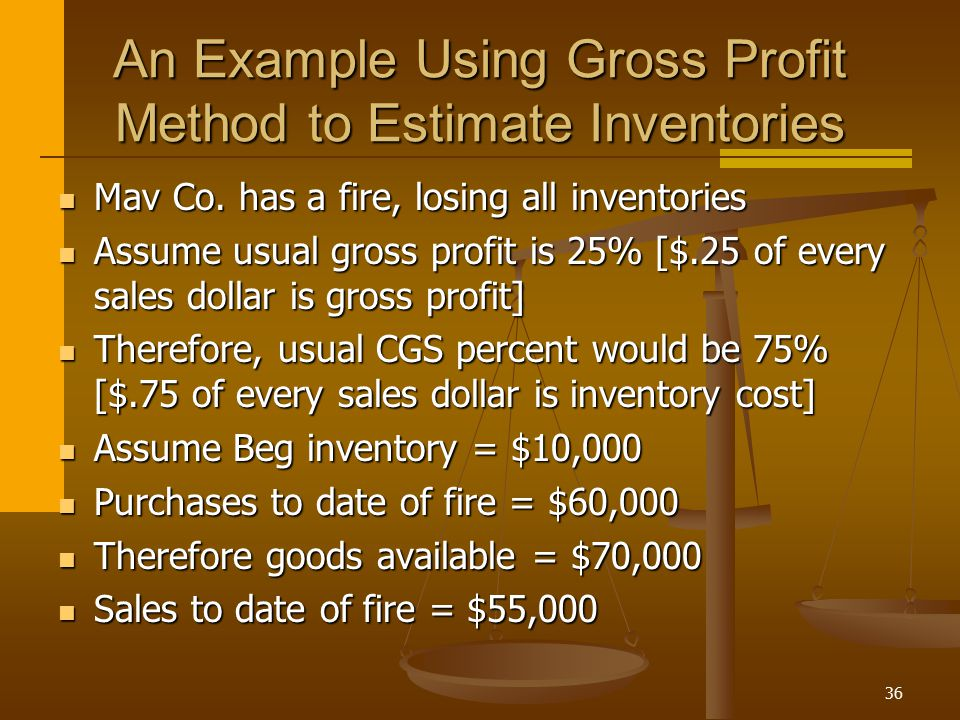 An Example Using Gross Profit Method to Estimate Inventories