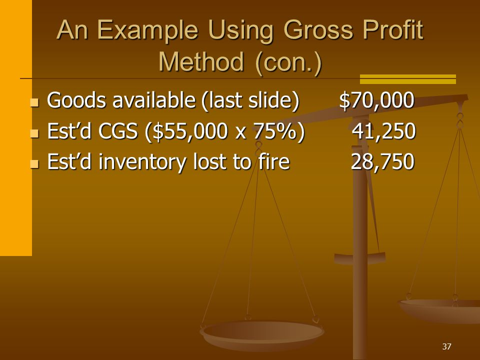 An Example Using Gross Profit Method (con.)
