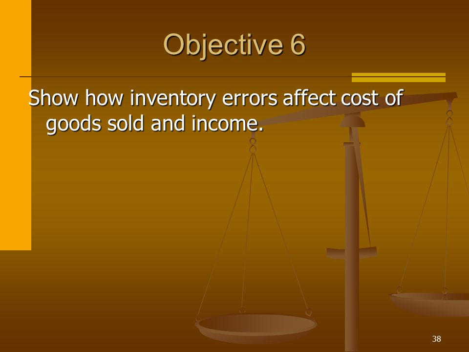 Objective 6 Show how inventory errors affect cost of goods sold and income.