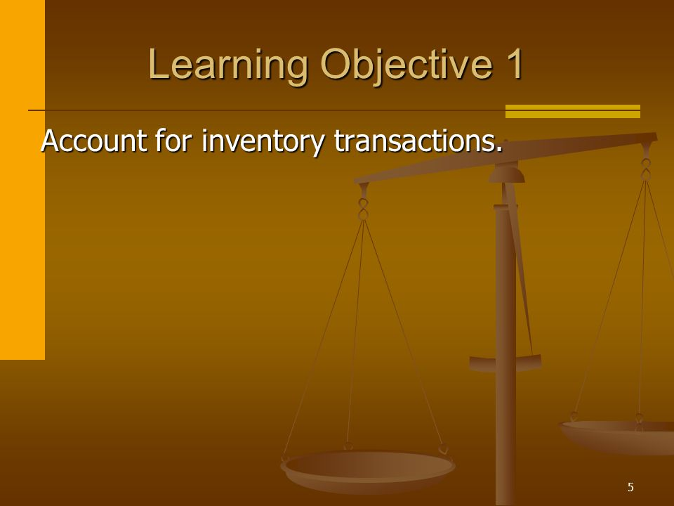 Learning Objective 1 Account for inventory transactions.