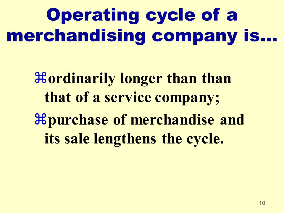 Operating cycle of a merchandising company is...