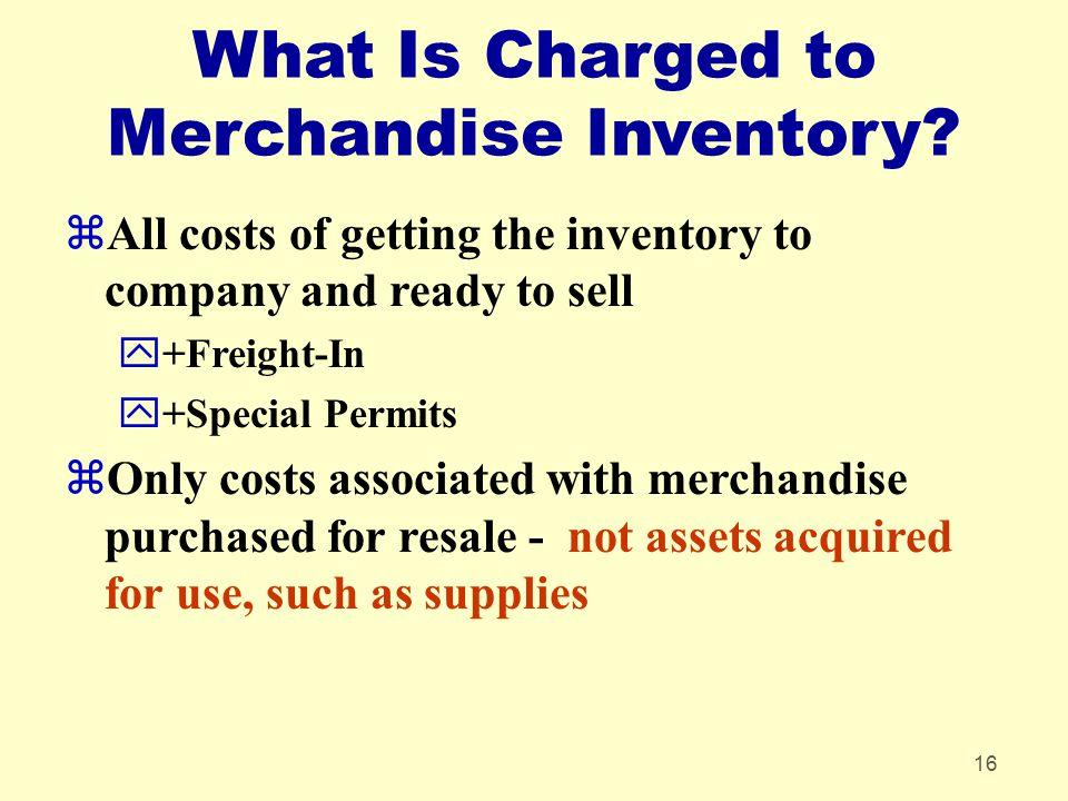 What Is Charged to Merchandise Inventory