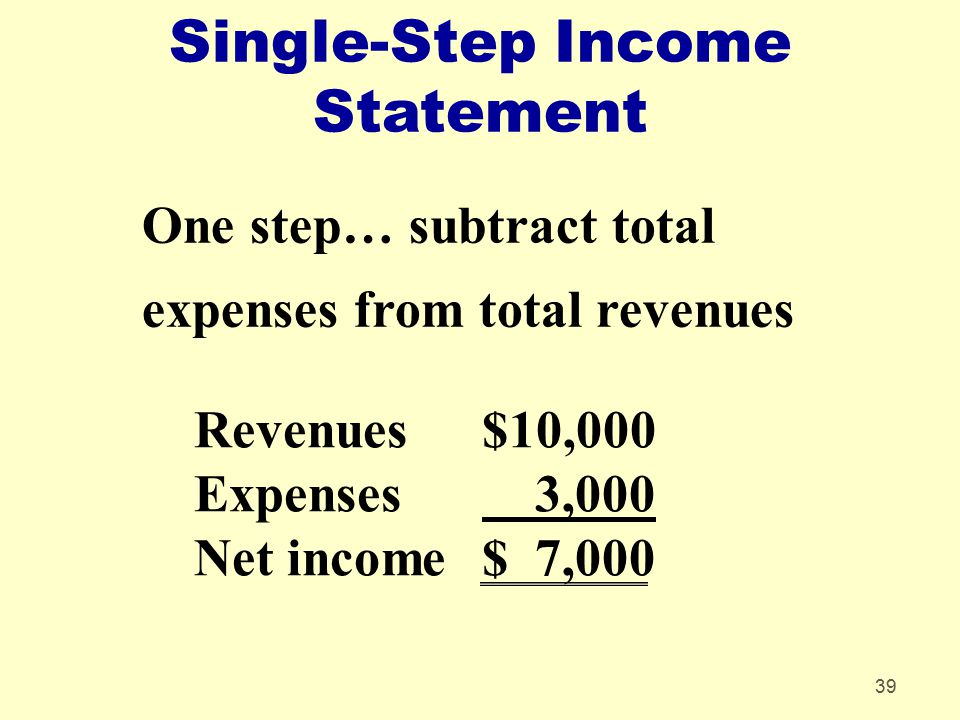 Single-Step Income Statement