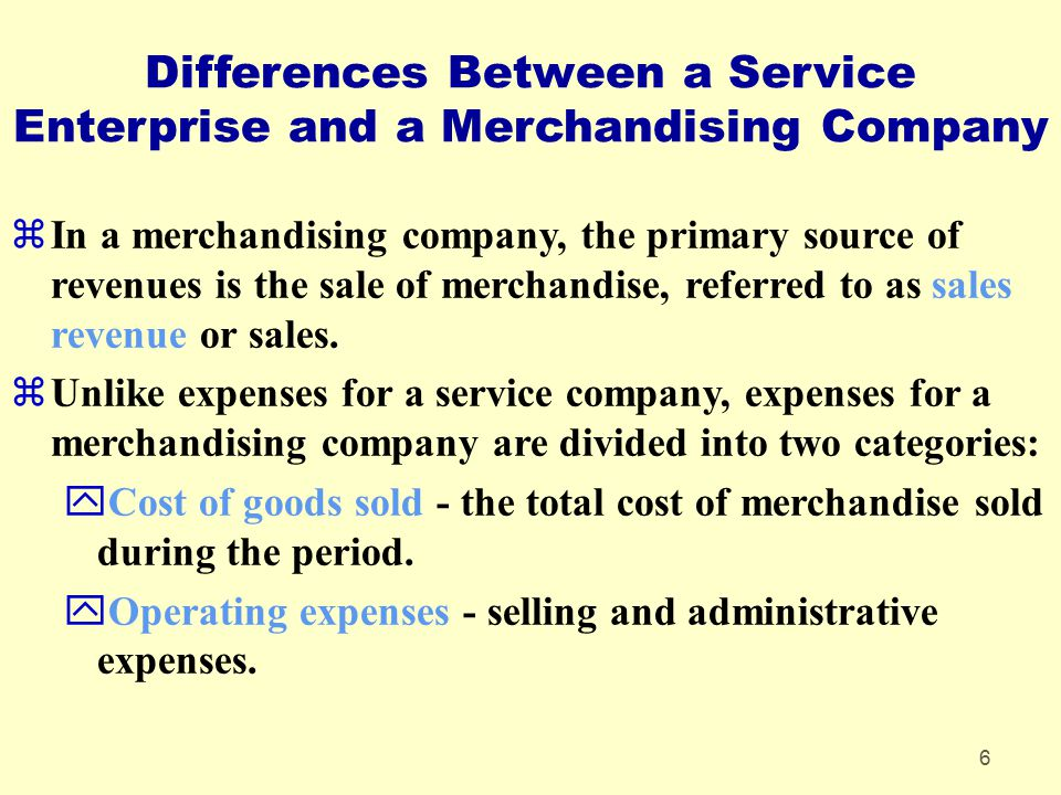 Differences Between a Service Enterprise and a Merchandising Company