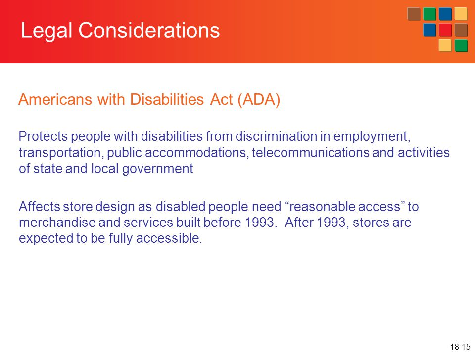 Legal Considerations Americans with Disabilities Act (ADA)