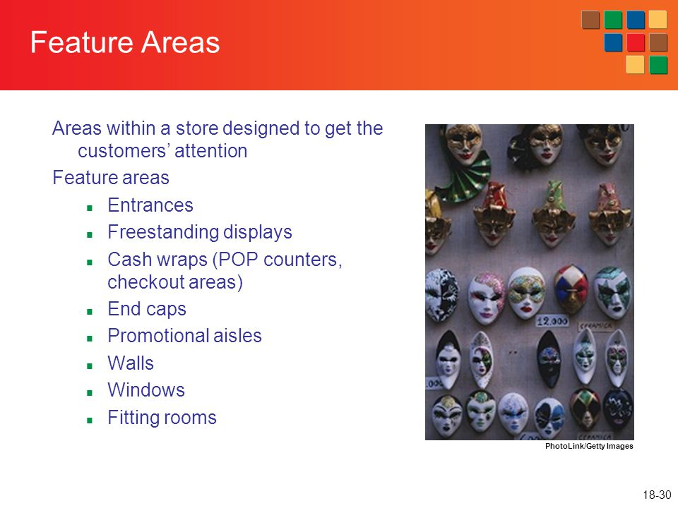 Feature Areas Areas within a store designed to get the customers' attention. Feature areas. Entrances.