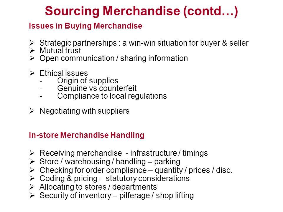 Sourcing Merchandise (contd…)