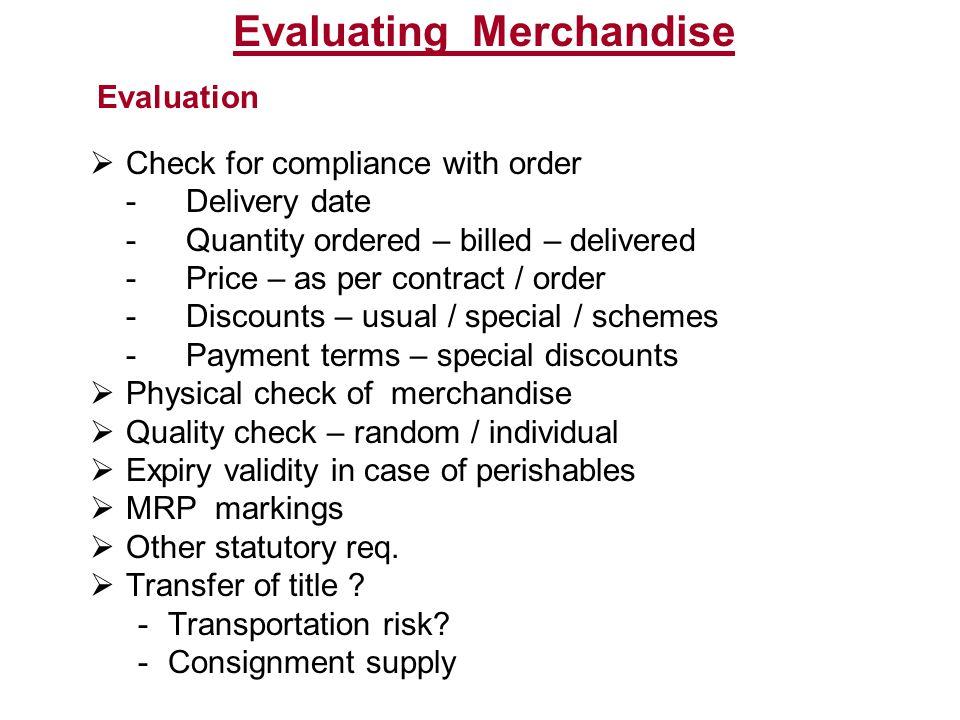 Evaluating Merchandise