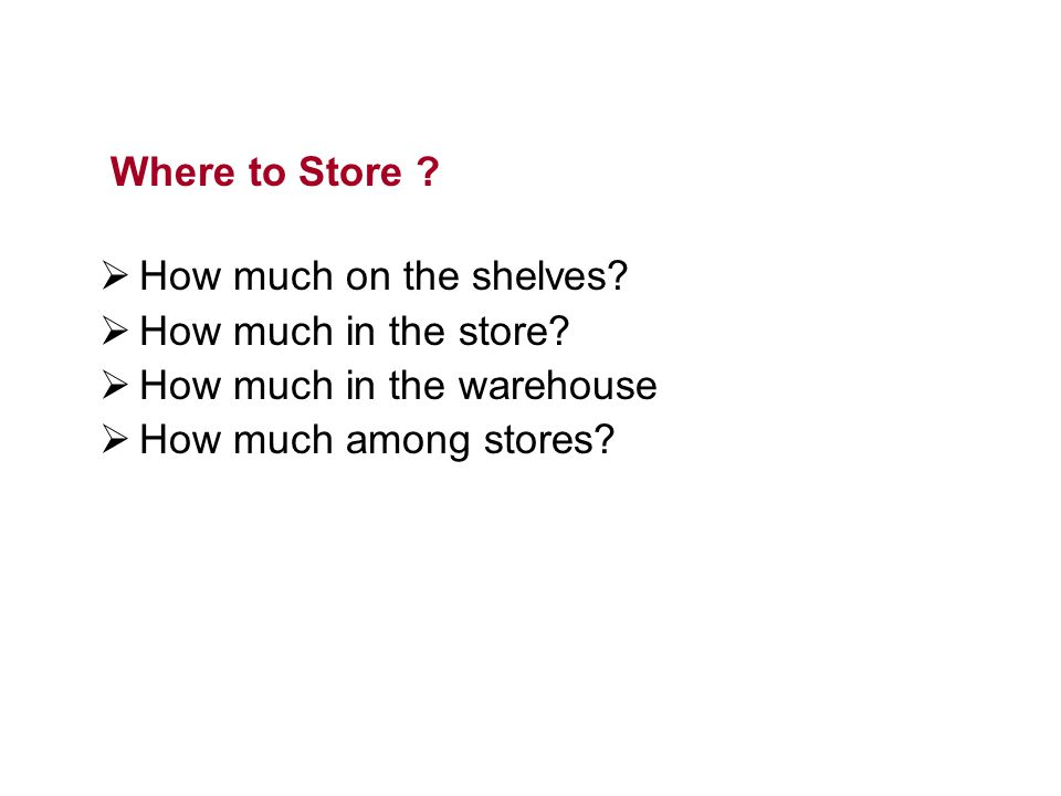 Where to Store . How much on the shelves. How much in the store.