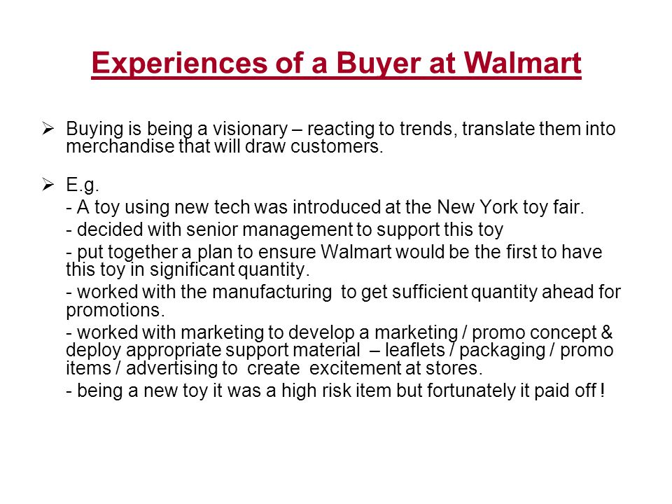 Experiences of a Buyer at Walmart