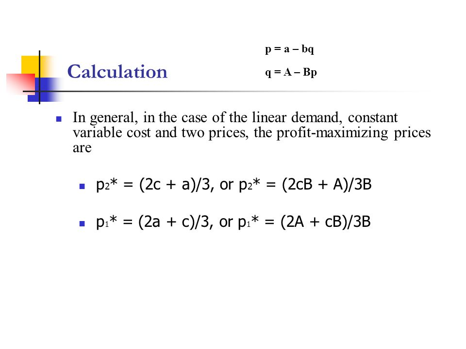 Calculation p = a – bq. q = A – Bp.