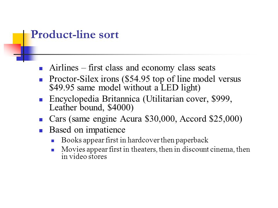 Product-line sort Airlines – first class and economy class seats
