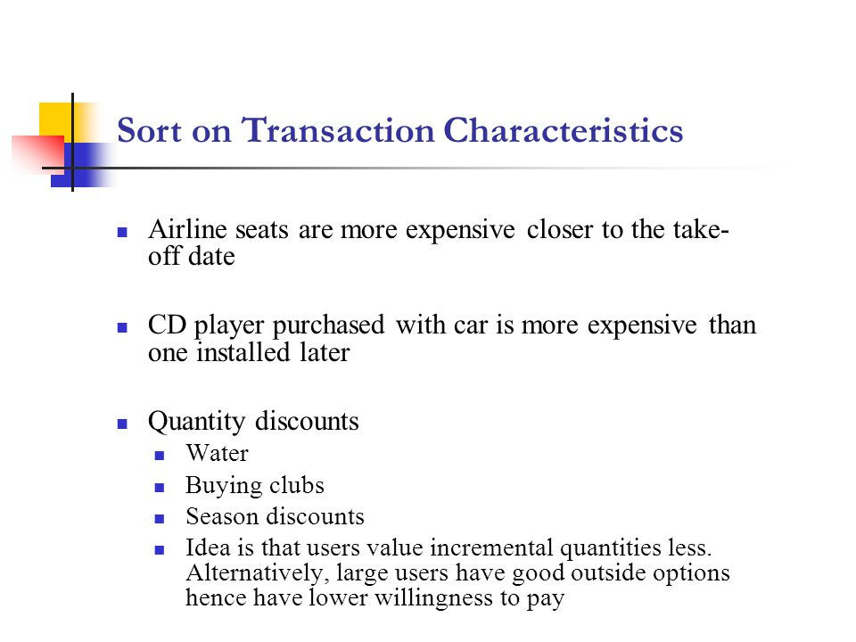 Sort on Transaction Characteristics