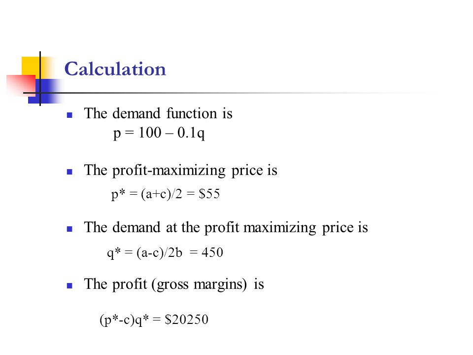 Calculation The demand function is p = 100 – 0.1q