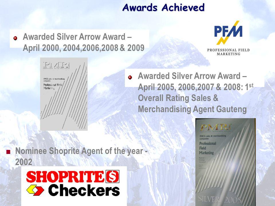 Awards Achieved Awarded Silver Arrow Award – April 2000, 2004,2006,2008 & 2009.