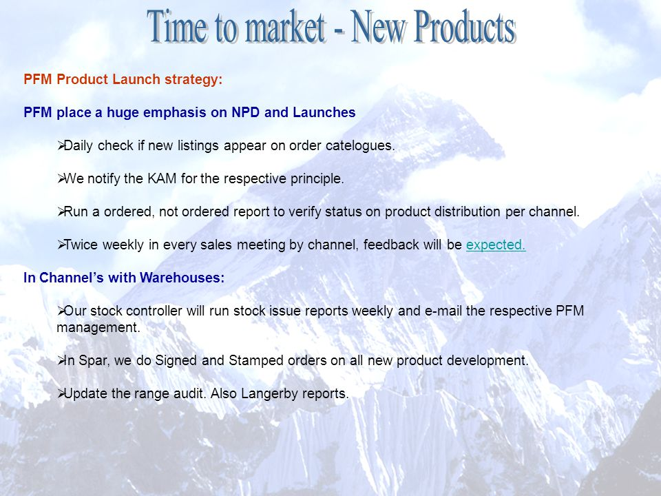 Time to market - New Products