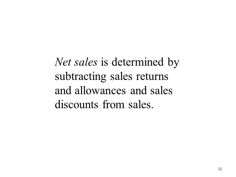 Net sales is determined by subtracting sales returns and allowances and sales discounts from sales.